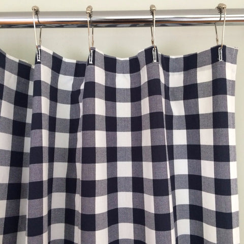 Buffalo Check Shower Curtain Navy Blue and White