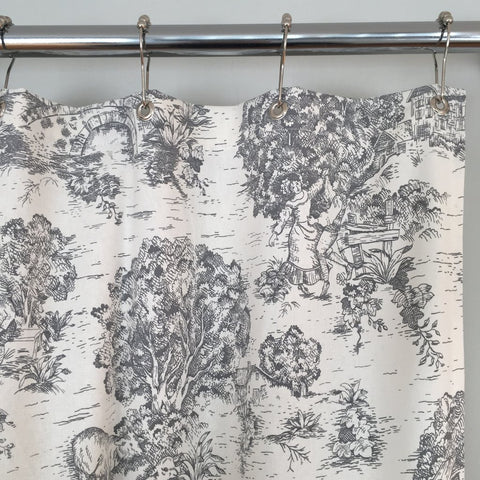 Farmhouse Shower Curtain - Toile de jouy fabric gray
