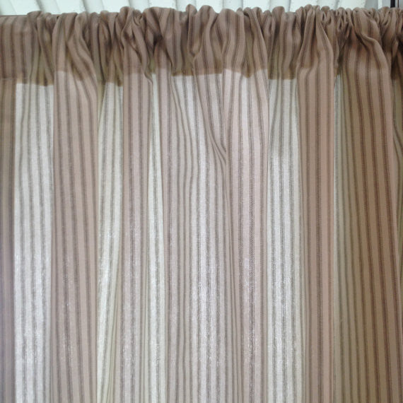 Gray Ticking Stripe Window Curtain