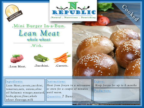 Mini Burger In-a-Bun : Lean Meat  Whole Wheat (Ready to Serve)