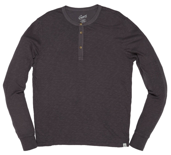 Grayers - Madison Jaspe Loose Knit Henley Forged Iron