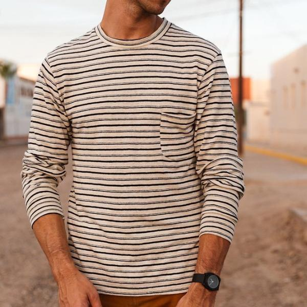 Jungmaven - Stripe Long Beach Long Sleeve Pocket Tee<br>Double Stripe/White Ground