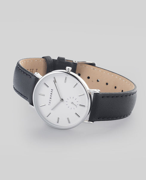 The Horse - The Classic Watch <br>Polished Steel/White Face/Black Band