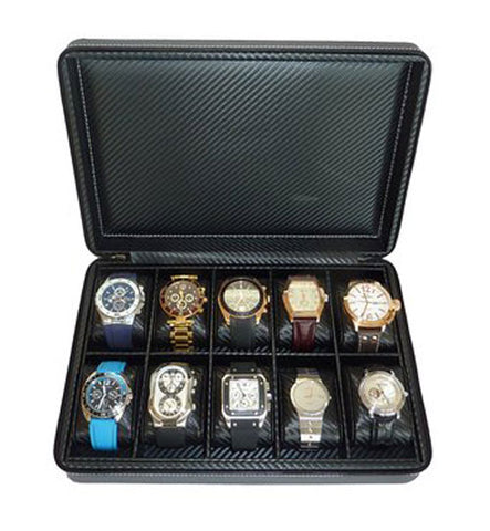 10 Watch Briefcase Black Carbon Fiber Zippered Travel Storage Case