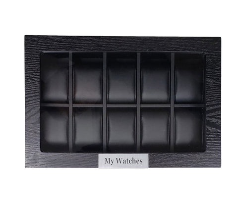 10 Piece Personalized Black Wood Watch Display Case Storage Organizer Box with Stainless Steel Accents
