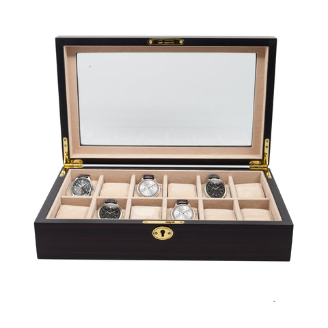 12 Piece Ebony Wood Watch Display Case and Storage Organizer Box