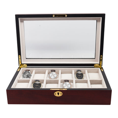 12 Piece Cherry Wood Watch Display Case and Storage Organizer Box