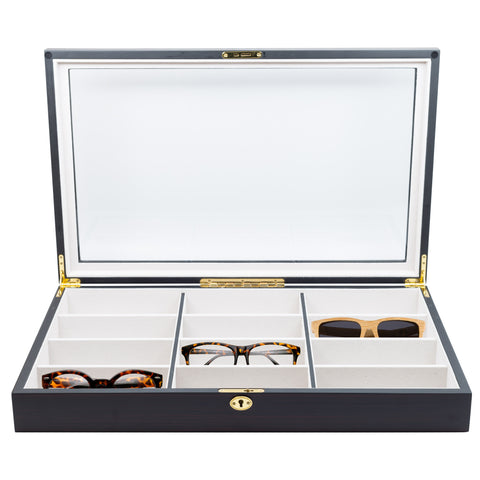 12 Piece Extra Large Ebony Wood Eyeglass Sunglass Glasses Display Case