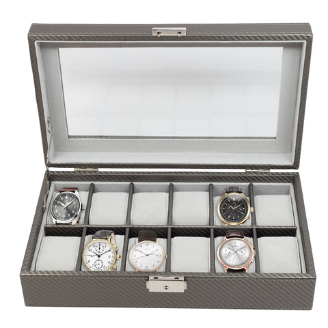 12 Piece Pewter Carbon Fiber Watch Display Case and Storage Organizer Box