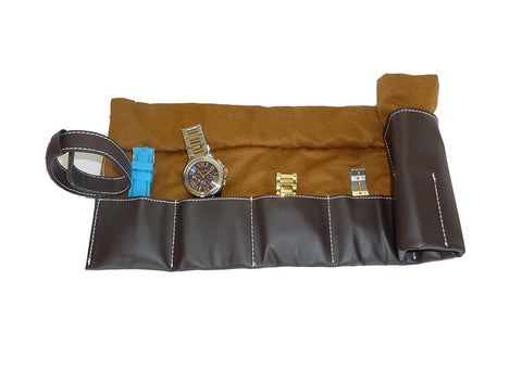 6 Watch Chocolate Brown Leatherette Travel Watch Pouch and Organizer
