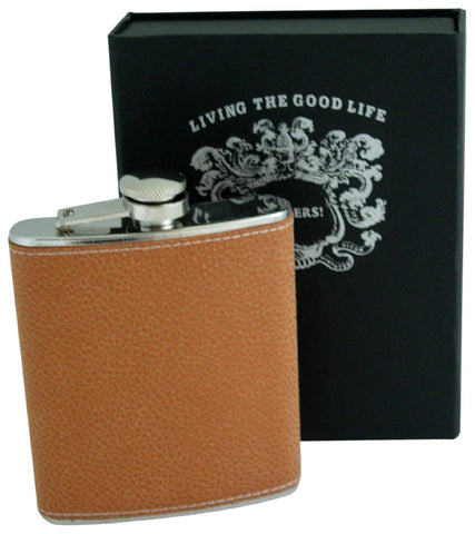 Bellemonde Orange Scotch Grain Stainless Steel Flask