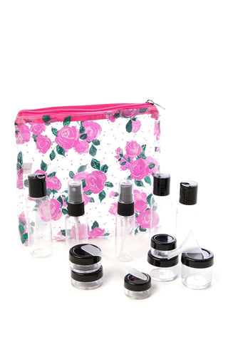 Miamica TSA Compliant Carry On Case Assorted Bottles-  Fuchsia Floral