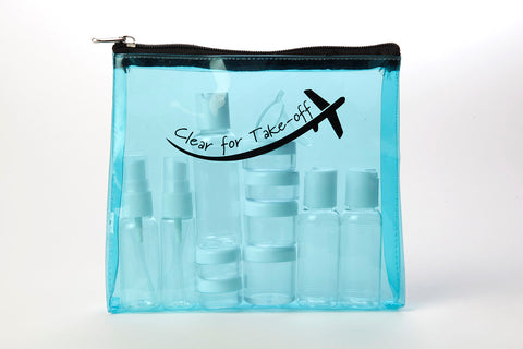 Miamica TSA Compliant Carry On Case Assorted Bottles - Turquoise