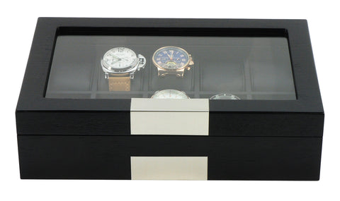 10 Piece Black Wood Watch Display Case Storage Organizer Box with Stainless Steel Accents