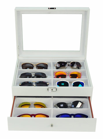 12 Piece Extra Large White Leatherette Eyeglass Display Case with Drawer