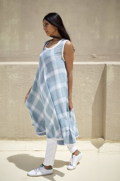 ADEE DRESS, WHITE & GREEN CHECK - SAAKI