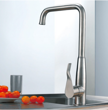 Buy Goose Neck Single Lever Kitchen Faucet Brushed Stainless Steel - Zen Tap Sinks - 2