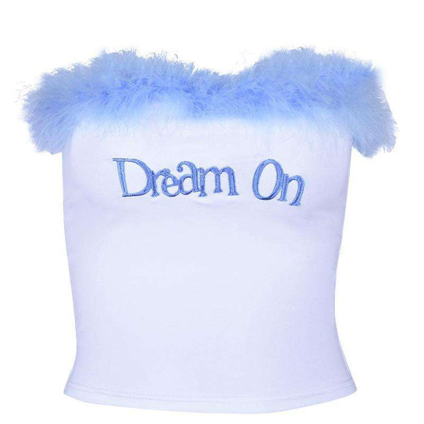 color patch furry letters embroidery tube top - Lupsona