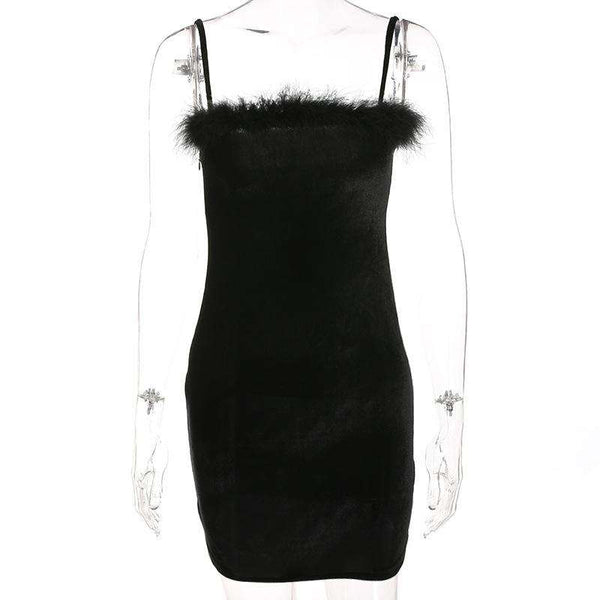 Schwarzes figurbetontes Bodycon Slip Dress - Lupsona