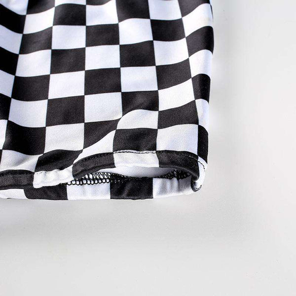 Cool Checker Imprimare Crop Tube Top - Lupsona