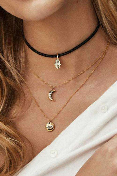 Collana multistrato pendente Palm Moon Eye