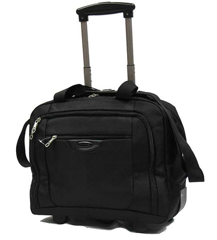 Professional Rolling Laptop Trolley Briefcase Black - Luggage Outlet Singapore - 1