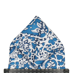 Lagos Laurel in Blue Pocket Square