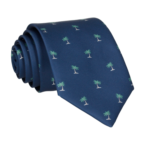Palm Trees Navy Blue Tie