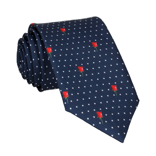 Red Rose Pin Dots Tie