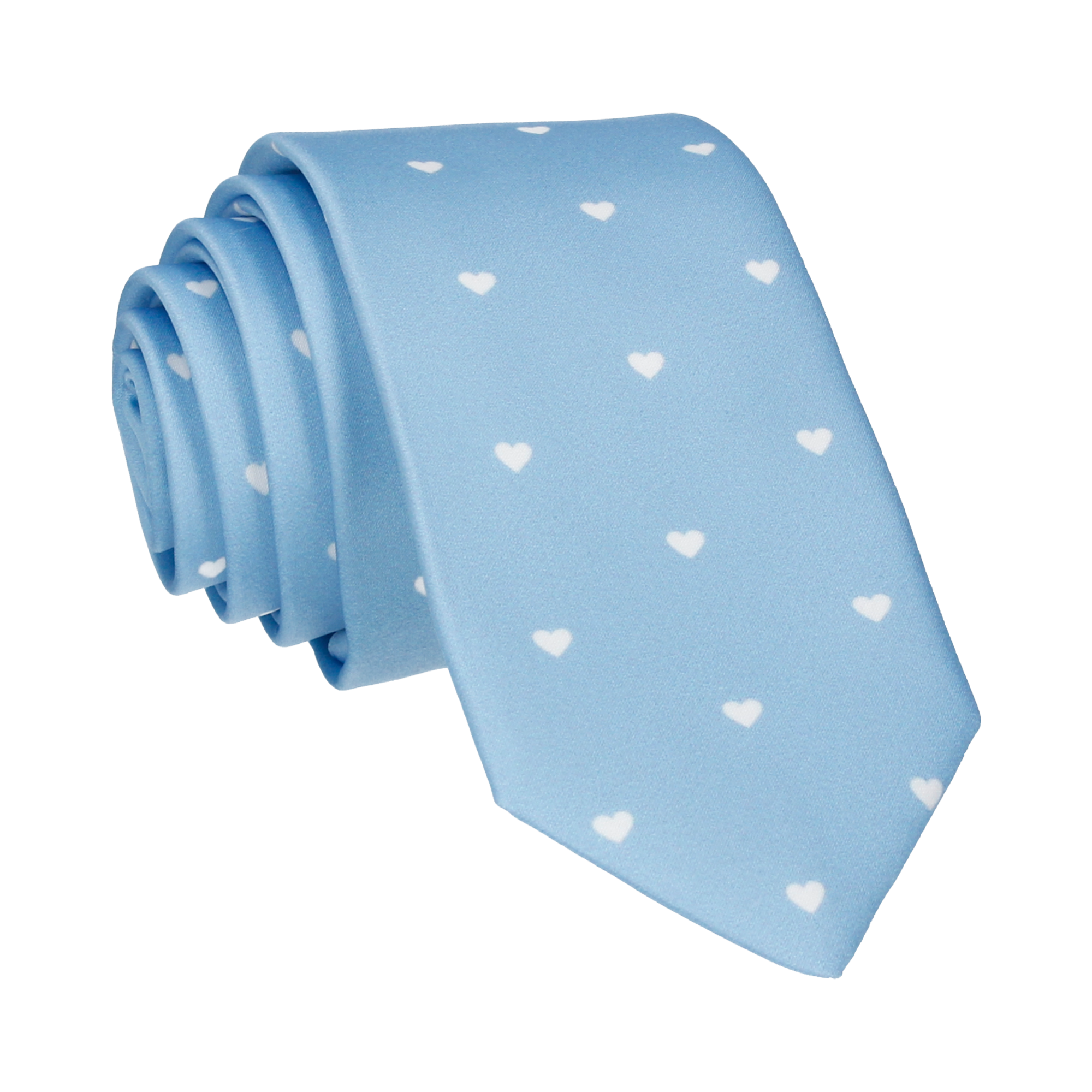 Polka Hearts in Pale Blue Tie