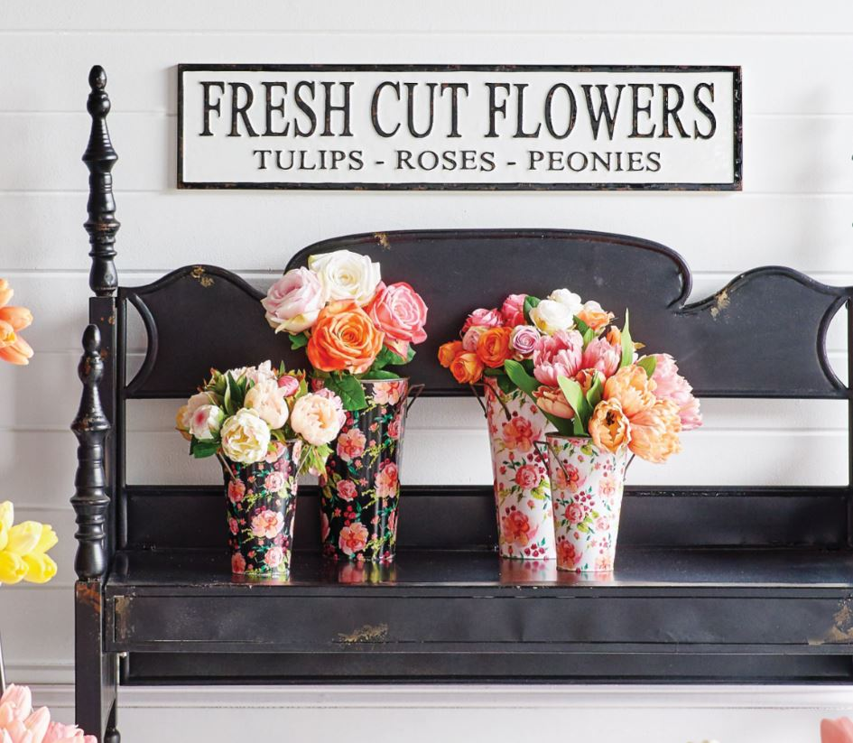 Fresh Cut Flowers Vintage Embossed Metal Sign with Aged Enamelware Finish - 36-in