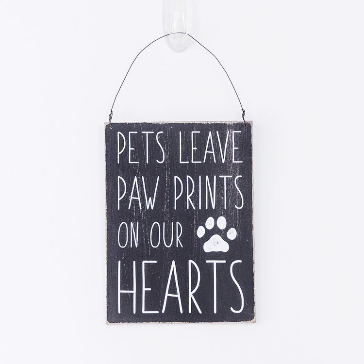 Pets Leave Paw Prints In Our Hearts - Mini Hanging Wood Sign - 5 x 7-in