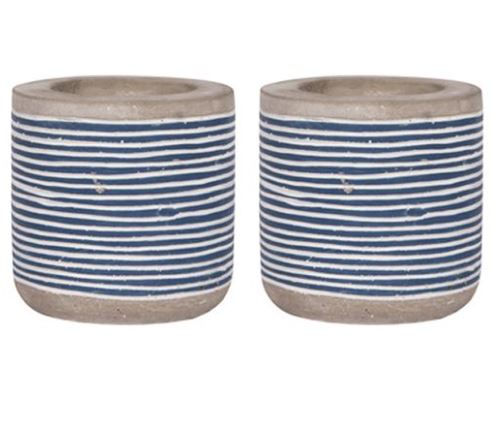 Cement Tealight Votive Holder with De-bossed Blue and White Striped Print - 2.8-in