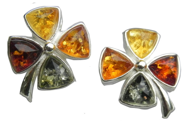 Genuine Baltic Amber Earrings - Multi Color Amber Cross - 925 Sterling Silver
