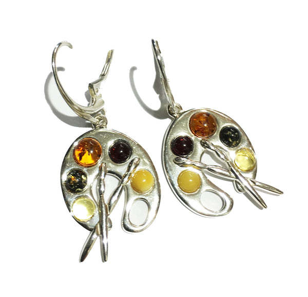 Genuine Baltic Amber Drop Earrings - Multi Color Paint Palette- 925 Sterling ...