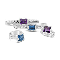 sterling silver blue topaz and amethyst herringbone jewelry cuff bracelet and ring