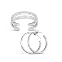 sterling silver herringbone woven jewelry hoop earring and cuff bracelets