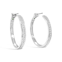 big basket weave hoop earring sterling silver