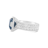 sterling silver woven herringbone ring with london blue topaz stone