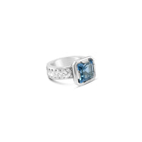sterling silver herringbone ring with square cut blue topaz