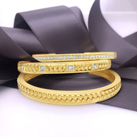 18k gold diamond woven bracelet cuff stack