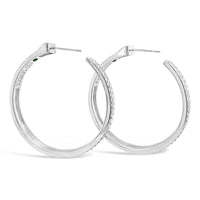 wide braid hoop earrings in sterling silver