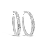 wide herringbone woven hoop earring sterling silver