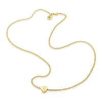 18k yellow gold petite heart necklace on thin chain