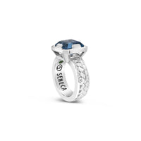 sterling silver basket weave ring with square cut blue topaz gemstone