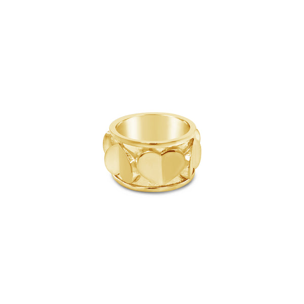 18k gold thick love heart cigar band eternity ring