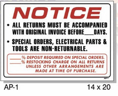 NOTICE RETURNS ORIGINAL INVOICE