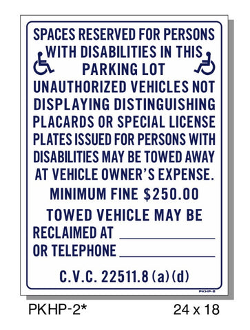 DISABLED PERSONS SPACE RESERVED SIGN, PKHP-2