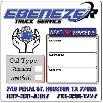 CUSTOM OIL CHANGE REMINDER STICKERS, (3 TEXT BOXES)
