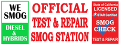 Official Test and Repair Smog Station Banner. We Smog Diesel and Hybrids, Vinyl Banner